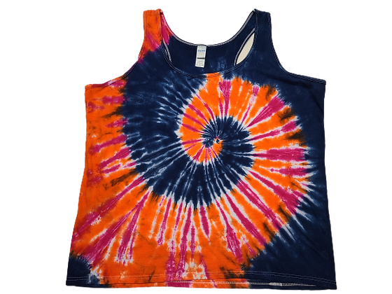 Woman's 2XL Racerback Tank with a Three Color, Two Spiral Pattern