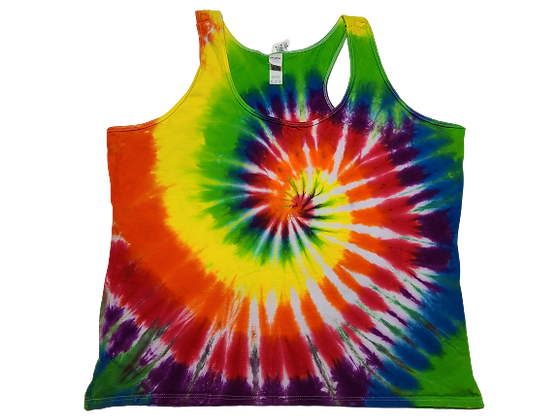 Woman's 2XL Racerback Tank with Rainbow Classic Spiral
