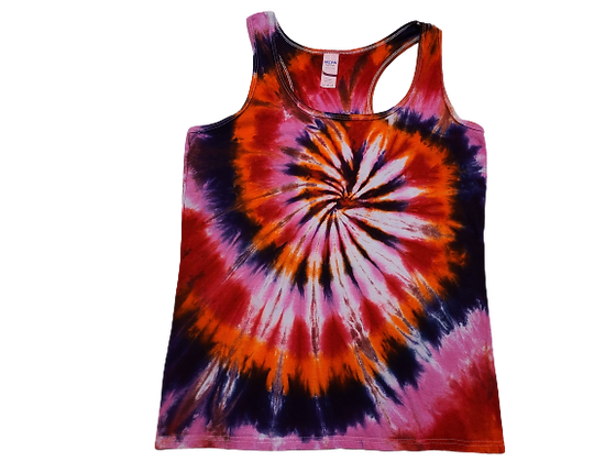 Woman's Medium Racerback Tank with Four Color Classic Spiral