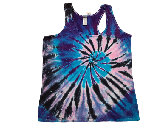 Woman's XL Racerback Tank with a Six Color Combo Two Spiral Pattern