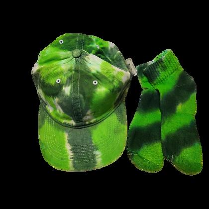 Green Ball Cap and Quarter Top Sock Set