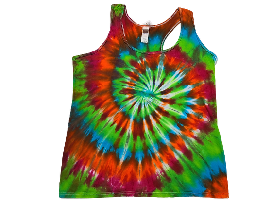 Woman's Large Racerback Tank with Four Color Classic Spiral