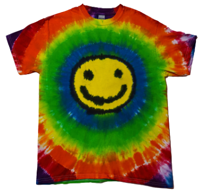 Adult Medium Happy Face Shirt with Rainbow Circles