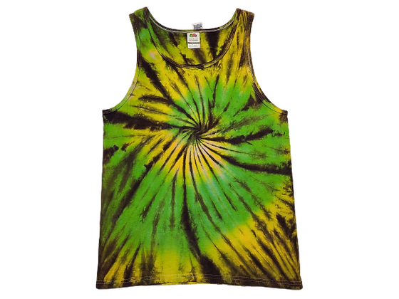 Adult Size Medium Tank Top withTwo Spirals and a Black Burst Overlay