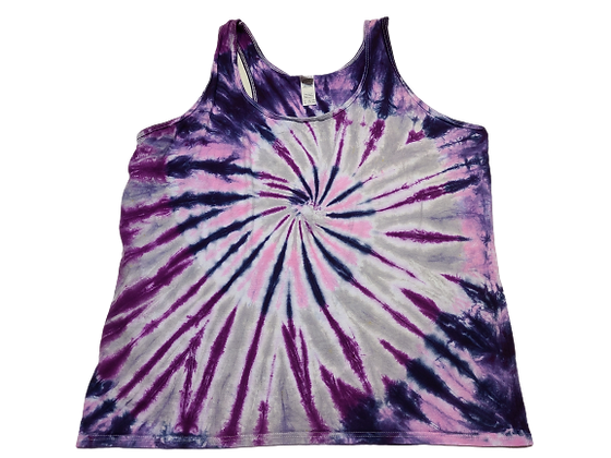 Woman's 2XL Racerback Tank with a Four Color Combo Burst Spiral