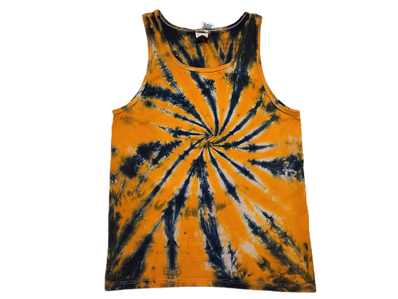 Adult Size Medium Tank Top with a Two Color Burst Spiral
