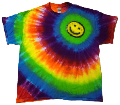 Adult XL Rainbow Shirt with Offset Happy Face