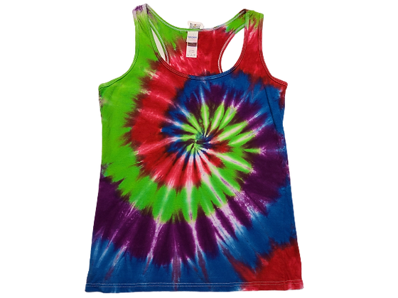 Woman's Small Racerback Tank with a Four Color Classic Spiral