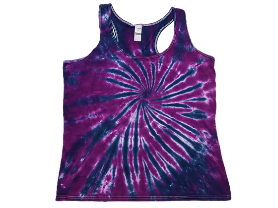 Woman's Large Racerback Tank with a Burst Spiral