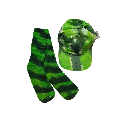 Green Ball Cap and Crew Sock Set