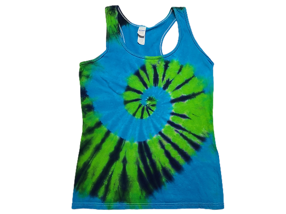 Woman's Small Racerback Tank with a Three Color, Two Spiral Pattern
