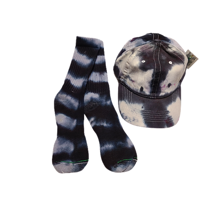 Grey and Bladk Ball Cap and Crew Sock Set with Hot Pink Spots
