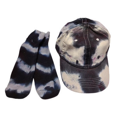 Grey and Black Ball Cap and Quarter Top Sock Set with hot pink spots