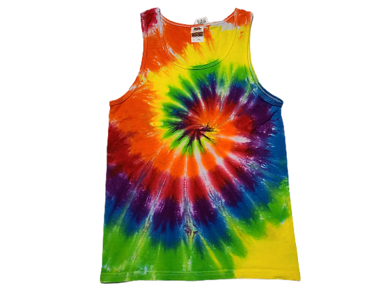 Adult Size Small Tank Top with Six Color Rainbow Classic Spiral Pattern