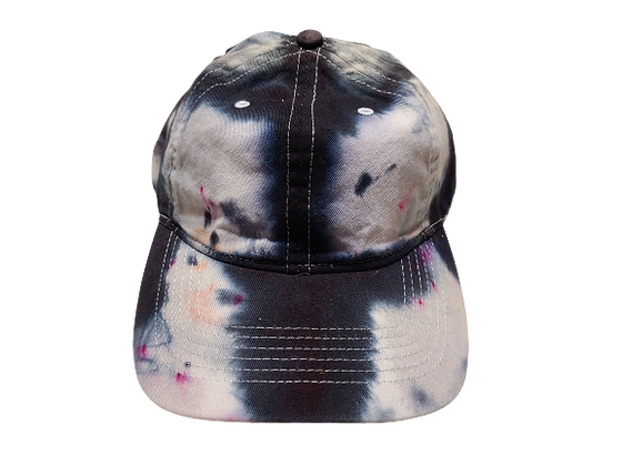 Grey and Black Ball Cap with Hot Pink Spots
