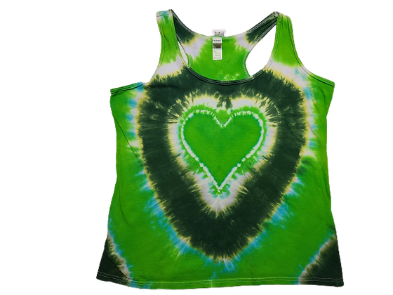 Woman's Large Racerback Tank with a Heart and Circular Lines