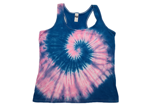 Woman's Large Racerback Tank with a Two Spiral Pattern