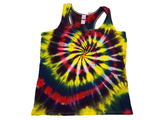 Woman's Large Racerback Tank with a Four Color Classic Spiral