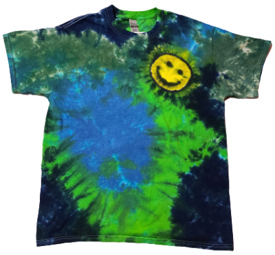 Adult Large Mottled Offset Happy Face Shirt