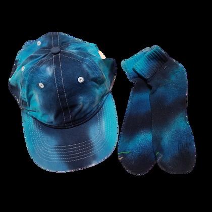 Blue Ball Cap and Quarter Top Sock Set