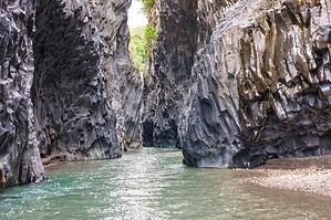 Alcantara river gorge near to Etna volca
