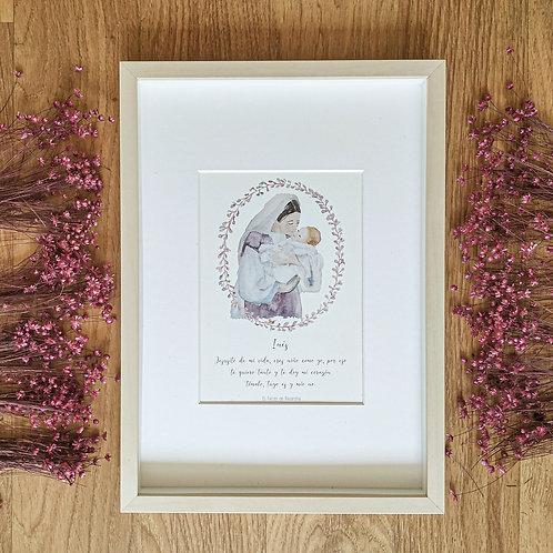 Virgen con Niño Jesús rosa