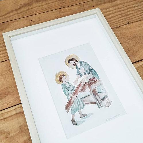 Lámina San José con Niño Jesús