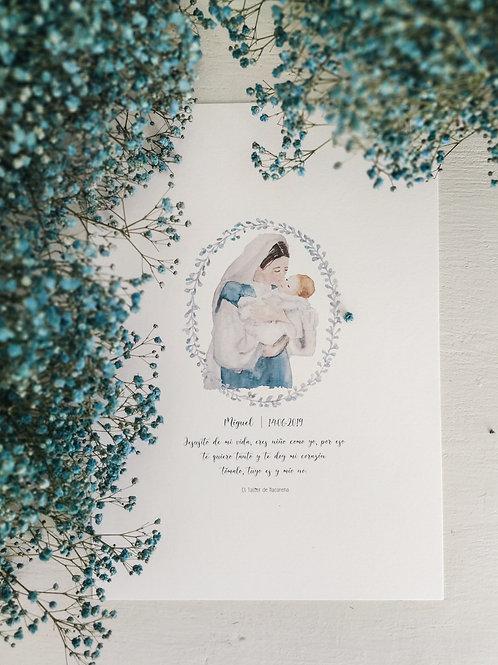 Virgen con Niño Jesús azul