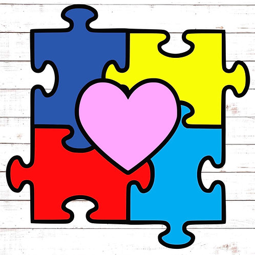 Autism Heart Puzzle- Paint your Photo Frame