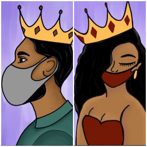 King & Queen with Mask