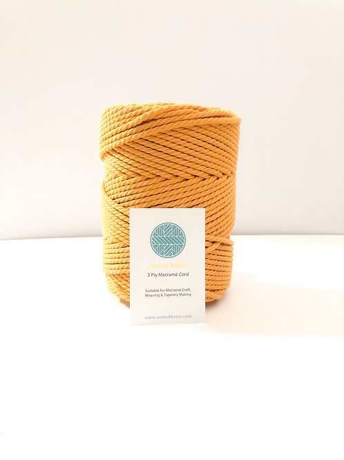 3mm Coloured Macrame Cord | Pumpkin | Recycled Cotton | 3 ply | 10