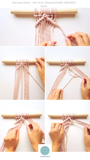 Beginners Macrame Knots - 5. Double Half Hitch Knots (Diagonally)