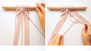 Beginners Macrame Knots - 5. Double Half Hitch Knots (Diagonally)