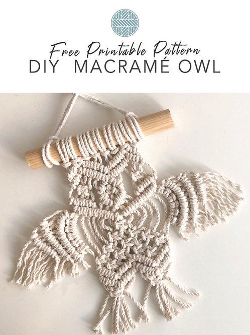Macrame Pattern: Owl Wall Hanging Digital Download
