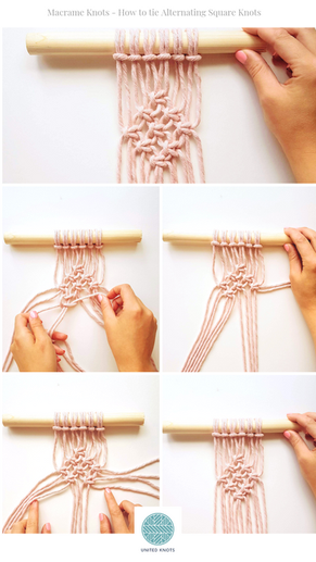 Beginners Macrame Knots - 3. Alternating Square Knots
