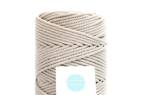 3mm Coloured Macrame Cord | Stone Beige | Recycled Cotton | 3 ply | 100 meter