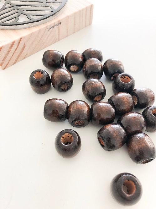 Macrame Beads - Medium Hole, Medium Beads 20 x dark brown wooden beads