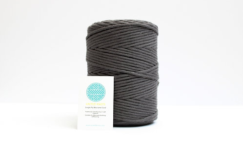 3mm Coloured Macrame Cord | Charcoal Grey | Recycled Single Ply | 200 mete