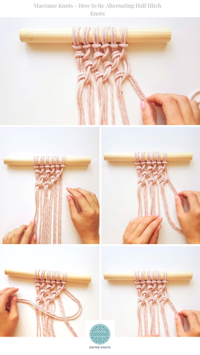 Beginners Macrame Knots - 4. Alternating Half Hitch Knots
