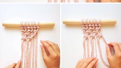 Beginners Macrame Knots - 4. Alternating Half Hitch Knots