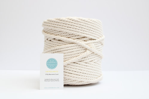 7mm Natural Macrame Cord | Recycled Chunky Cotton Rope | 3 ply | 100 meters
