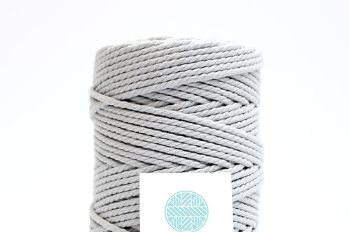 3mm Coloured Macrame Cord | Cloud Grey | Recycled Cotton | 3 ply | 100 meters