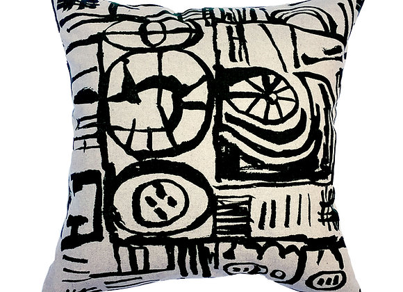 Cushion - Large Scale 'Sketch' Design Black