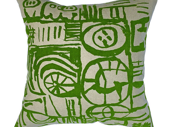 Cushion - Large Scale 'Sketch' Design Green