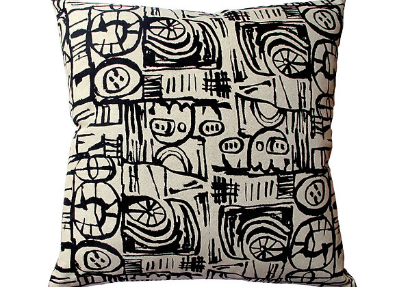 Cushion - Small Scale 'Sketch' Design Black