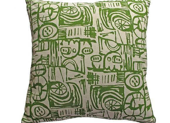Cushion - Small Scale 'Sketch' Design Green