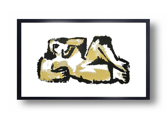 Reclining Figure Golden - Screen Print