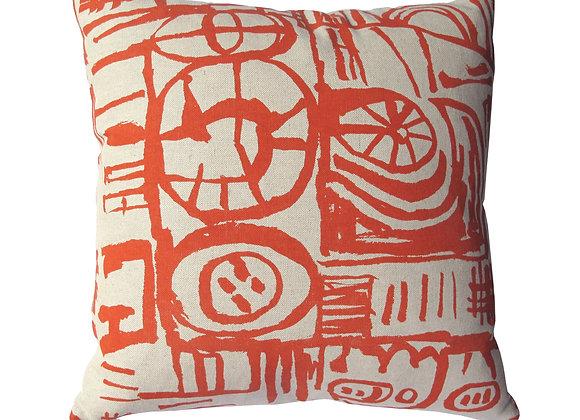 Cushion - Large Scale 'Sketch' Design Orange