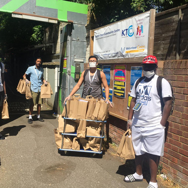 Young people delivering food