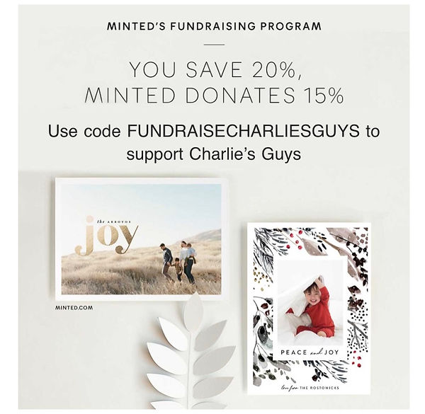 minted.com's logo with promo code for Charlie's Guys: FUNDRAISECHARLIESGUYS